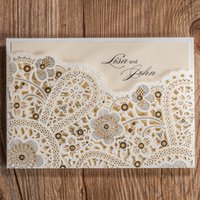 Wholesale Unique Laser Cut Hollow Flower Wedding Invitations Cards High Quality personalized Bridal Invitation Card Cheap