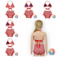 beachwear for kids - American Flag Bikini Swimsuit Girls bikini Set Swimwear Kids Lovely Two Pieces Swimsuit Bathingsuit Cute Beachwear For Children LJJG434