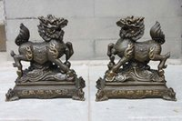 attract wealth - China Bronze Feng Shui Attract Wealth Dragon Chi Lin Beast Bronze Kylin pair