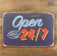 Wholesale OPEN Tin Sign Bar pub home Wall Decor Retro Metal Art Poster