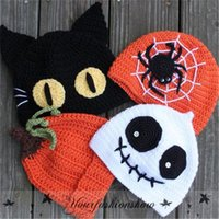 baby pumpkin crochet beanie - Fedex DHL Free Children Halloween Beanie Hats Caps Boys girls Spider Pumpkin Ghost Cat Crochet Handmade Kids Hats Baby Knitted Hat Cap Z281