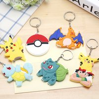 Wholesale 6 stelys Silicone Cartoon Charizard Bulbasaur Squirtle Poke Ball Pikachu Keychains Fashion toys Gift