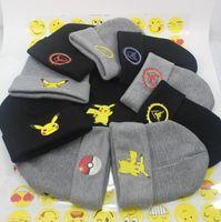 Wholesale 17 Styles Poke Ball Pikachu Beanie Emoji Crochet Knit Hats Unisex Adult Caps Poke Beanies Hip Hop Beanie Caps Christmas Knitted Hats JJP357