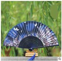 antique cherry wood - Ms silk fan silk folding fan Japanese cherry blossoms and wind Japanese folding fan Zhushan