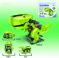 Wholesale The Solar power driven toy Four in one robot Solar energy deformation team toy for kids