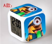 Wholesale New Despicable Me D Eye Small Minions LED Colors Change Digital Alarm Clock Thermometer As Gift For kids children