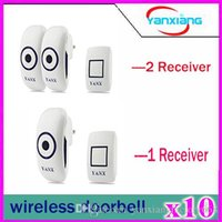 Wholesale 10pcs Home Wireless two Receiver Cordless Smart Door Bells Waterproof Plug in Type Wireless Doorbell With Chimes Door Bell YX ML
