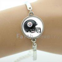 american football photos - Vintage american football team logo helmet photo bracelet case for casual jewelry trendy rugby bracelets men NF111
