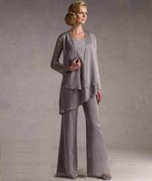 Cheap 2016 Chiffon Mother of the Bride Pants Suits With Jacket Long Sleeve Square Neckline Wedding Mother's Groom Formal Wear Silver