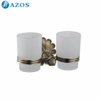 antique glass bath - AZOS Wall Mounted Two Glass Cup Holders Nickel Brush Finish Antique Brass Color Toilet Accessories Bath Shower Hardware Components GJQC2304D