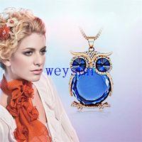 Bon Marché Colliers de hibou-Déclaration de bijoux Trendy Owl Collier Cristal Mode Femmes Sautoir Colliers Pendentifs