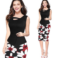 Wholesale 2016 Pink Print Floral Casual Work Patchwork Bodycon Summer office Dress plus size women clothing Fitted Elegant pencil Dresses