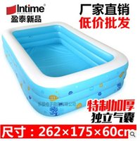 Wholesale Inflatable adult swimming pool blue and white three rectangular pool