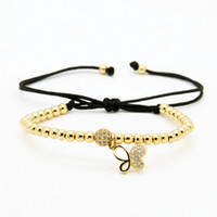animal fines - 10pcs mm Real Gold Plated Copper Beads Clear Cz Butterfly Bracelet Fine Girl Women Charms Jewelry