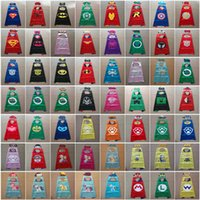 Wholesale 56 Styles Double side kids Halloween Capes and masks Batman Spiderman Ninja Turtles Flash Supergirl Batgirl Robin for kids CM