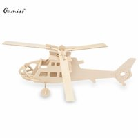 Wholesale Wooden D Puzzles Toys Aircraft Helicopter Model Simulation Assembling Construction Kit Toy For Children Education Toy