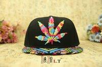 Wholesale Colorful Baseball Hat Hip hop hemp Leaf Flat Pop Bill Snapback Baseball Caps adjustable maples leaves caps for men women