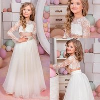 Wholesale 2017 Two Pieces Flower Girls Dresses For Weddings Jewel Neck Long Sleeves Lace Princess Birthday Dress Children Party Kids Girl Ball Gowns