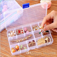 Wholesale Adjustable Compact Grids Compartment Plastic Tool Container Storage Box Case Jewelry Earring Tiny Stuff Boxes Containers
