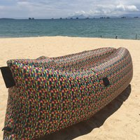 beach chair prints - 2016 Best Lamzac Hangout Fast Inflatable Air Sleep Camping Bed Beach Sofa Lounger Sleeping Bag Printing Camo Lazy Chair DHL Free