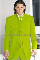 Wholesale 2016 Top Selling Men chinese collar green best man Suit Wedding Suits Groom tailcoat Groomsmen Suit jacket Pants vest tie Free Shiping