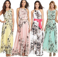 Wholesale Women Floral Beach Deep V Neck Boho Maxi Long Chiffon Long Dress summer beach dress sexy sleeveless casual long chiffon dress
