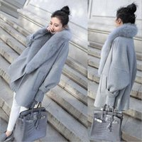 Wholesale Winter Womens Wool Blends Overcoat Fur Collar Coat Loose Trench Cardigan Long Plus Size Jacket Parka Coats High Quality NSH09