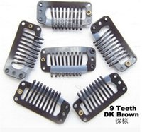 Wholesale teeth snap clip for hair extension weave Color Brown