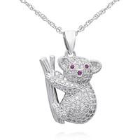 Wholesale Hot sell gift silver koala bear pendant cute animal necklace jewelry for children PJ00724