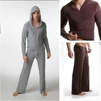 bath hood - Fashion Men Pyjamas Twinset Tops Pants Male Lounge Set Casual Sleepwear Hood Yoga Clothes Night Bath Clothes Sweater