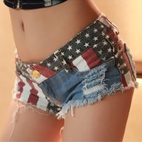 american flag jean shorts - 2016 New Club Women American Flag Hole Denim Shorts Ladies Sexy Blue Jean Shorts