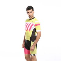 Wholesale Stripe Zipper Cycling Jersey Sets for Men Crew Neck Compressed Short Sleeve Breathable Fitness Polyester Summer Mens Bikes Clothes