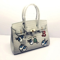 big eye tote bag - New Fashion Big Eyes Name brand handbags For Women Sequins Cartoon Blue Hangbags White Bags Medium Size in
