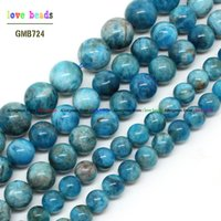 apatite gem stone - Natural Blue Apatite Beads mm Strand quot Natural Bead For Woman DIY Bracelet Necklace Jewelry Gem Making F00465