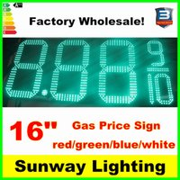Wholesale 16inches Gas Station Price Sign outdoor LED signs red green blue white single color digits with RF remote