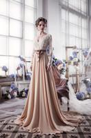bandage dresses online - Champagne Long Sleeve Lace Evening Dresses With Sash Romantic Special Occasion Dresses Shopping Sales Online Vestido De Noiva
