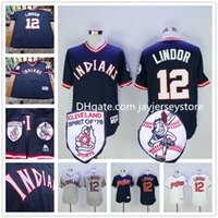 baseballs grey - Francisco Lindor Jersey Cleveland Indians Jerseys Blue Pullover White Grey Flexbase