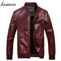 Wholesale Fall Lamen New Brand Men s Fashion Leather Jackets Stand Collar Jaqueta de Couro Masculina Men Plus velvet warm Winter Jackets coats