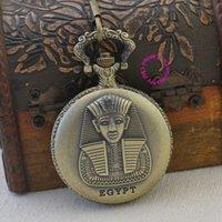 Precio de Escénico viaje-venta al por mayor de moda de cuarzo de bolsillo antiguo egipto hombre del reloj del fob lugares pintorescos faraón de la vendimia mira a los hombres viajan regalo retro de bronce