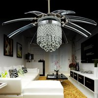 Wholesale Stealth LED fan lights with crystal wings off will hide modern minimalist restaurant dining cafe Chandeliers Ceiling Light Pendant Lamp