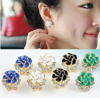 best rose plants - Fashion New Elegant Personality Flower Rose Crystal Rhinestone Stud Earring Elegant Jewelry Best Gift For Women