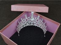 Wholesale white Diamond tiara bride Wedding accessories married crown hair ornaments crown performs