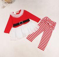 Санта костюмы Цены-Рождество Санта-Клаус Тюль платье девушки Stripes Legging для девочек Xmas 2pcs Набор наряды с длинным рукавом платье Leisure Suit Outfit