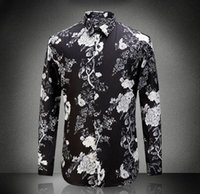 Wholesale Europe and the United States men s new autumn Digital printing flower cultivate one s morality cotton shirt