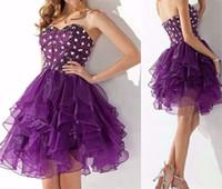art glass apple - 2016 sexy Purple Sweetheart Strapless Organza Ruffle Skirt Short Homecoming Dress With Cut Glass BeadingModern stylish luxury