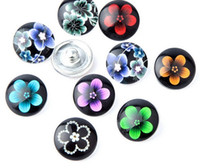 Wholesale 100pcs Flowers Button mm Button Ginger Snap Charms Jewelry Interchangeable Jewerly Charms Pendants Necklace Charms