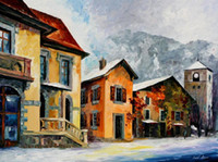 alps paintings - Wall decor for office high quality Leonid Afremov s hand painted Palette knife oil paintings switzerland town in the alps