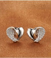 Wholesale Hot Selling High Quality Silver Earrings For Women New Supplies Fashion Jewelry Austrian crystal Heart Charm Stud Earrings