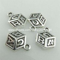 b cubed - 19767 Vintage Silver Alloy Cube Carve A B C Letter Pendant New Findings