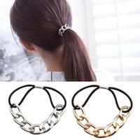 Wholesale 2016 Korean Punk hair bands Gold Silver Plated Woman Elastic Hair Band Rope Ties Metal Ponytail Holder Girls Hair Accessories